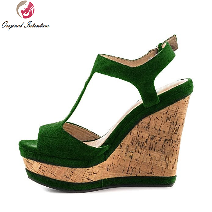 ФОТО Original Intention High-quality Women Sandals Peep Toe Wedges Sandals Black Blue Green Purple Wine Red Shoes Woman US Size 4-15