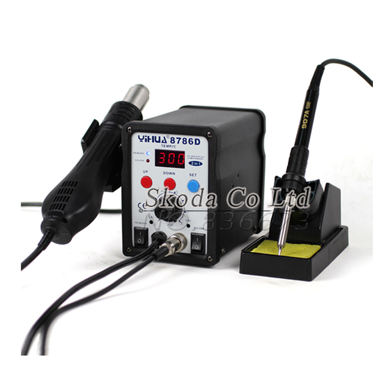 Free shipping yihua 8786D 2 in1 Digital Display Hot Air Soldering Station Rework Station 750W 220V Electric iron + hot air gun yihua 898d led digital 700w lead free smd desoldering soldering station hot air soldering station