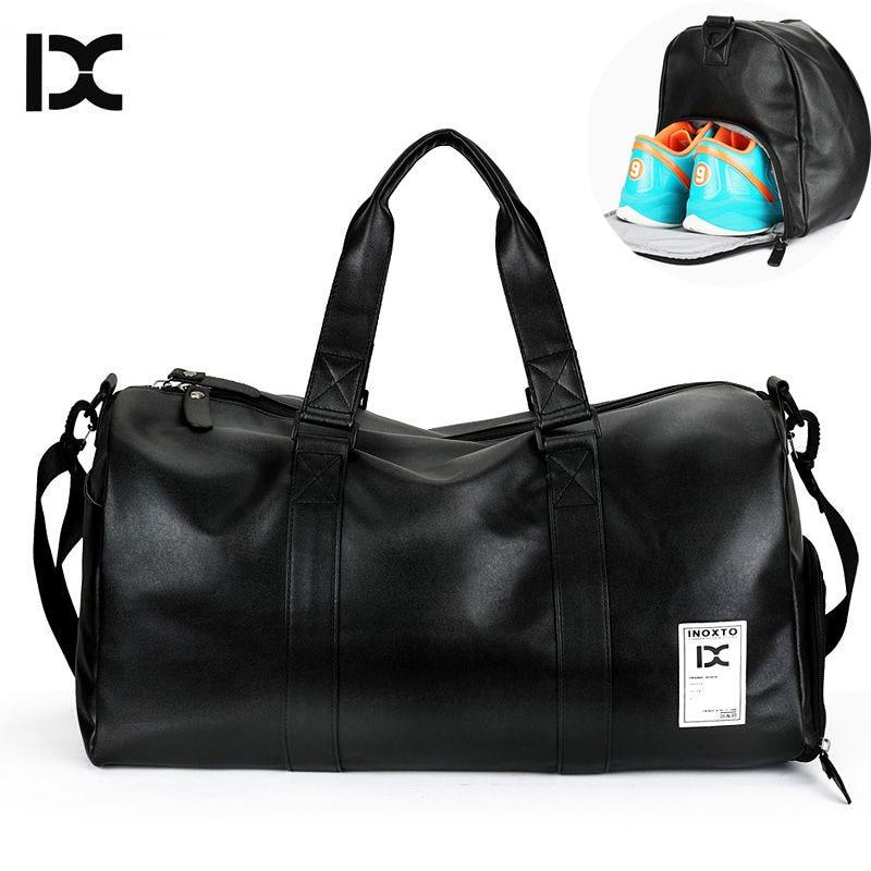 где купить Men's PU Leather Gym Bag Travel Sports Bags Handbags For Fitness Men Women Training Shoulder Sac With Shoes Sac De Sport XA494WA дешево