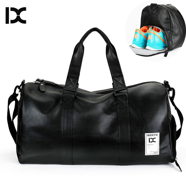 7e0591fdc68 Men s PU Leather Gym Bag Travel Sports Bags Handbags For Fitness Men Women  Training Shoulder Sac