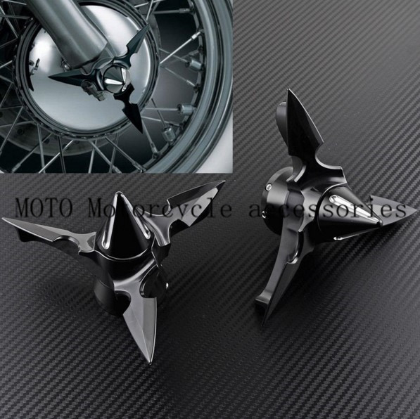 Motorcycle Front Axle Spike Point Center Caps For Harley Softail Sportster 883 1200 Electra Glide Spun Blade Spinning Axle Caps tc02311010047 tc0231101004 the housing for front axle