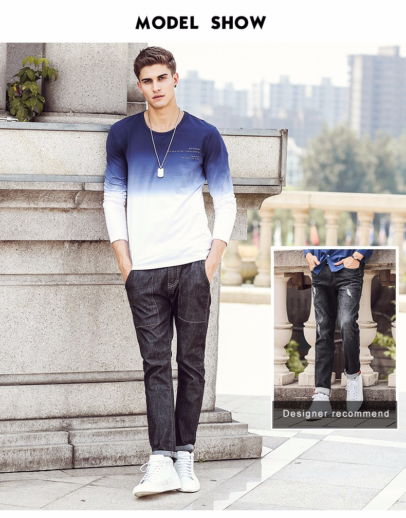 Pioneer Camp 17 New Arrive Mens T Shirts Fashion O-Neck casual Long Sleeve T-Shirt Gradient band Clothing T Shirt Homme 611907 17