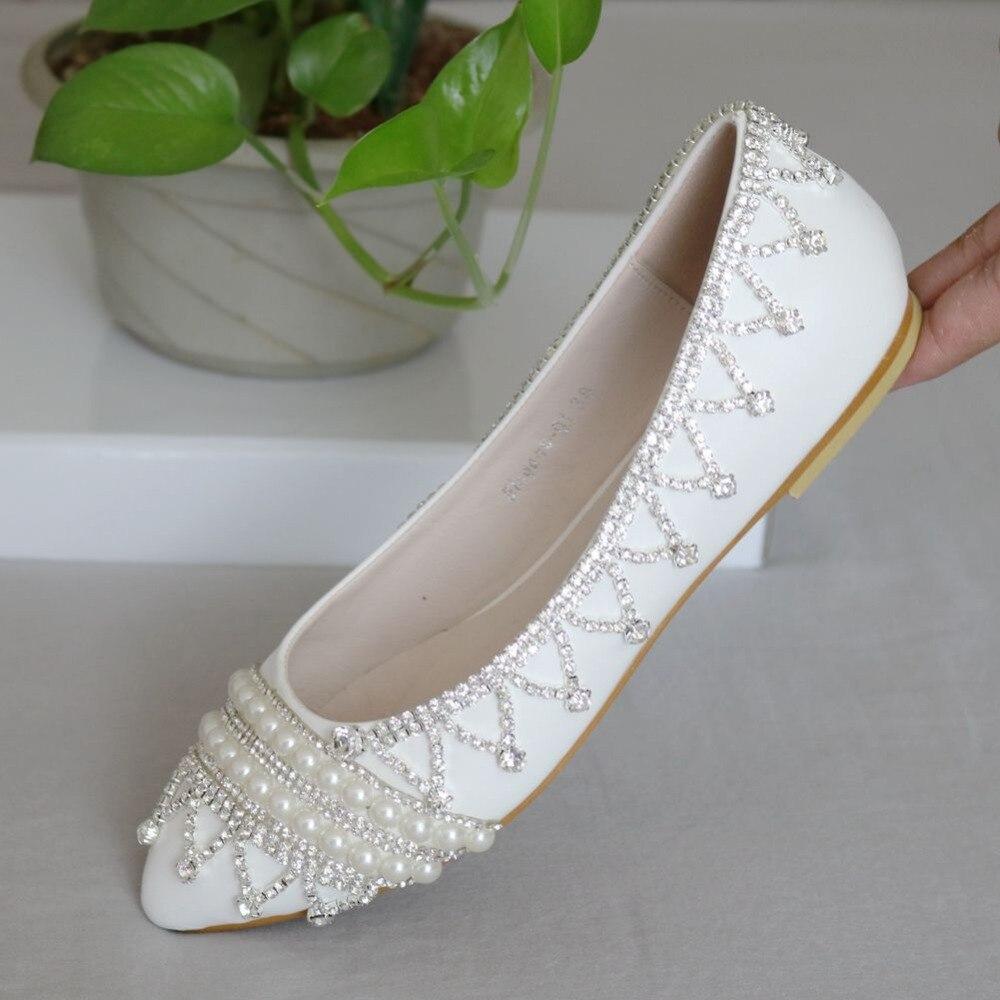 Flat rhinestone sandals for wedding - Fashion Luxury Rhinestone Flats Casual Shoes For Women Wedding Flat Shoes White Silver Rhinestone Pearls Women Shoes Flats 2016
