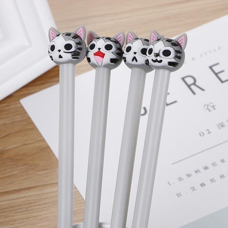 40 PCs Creative Cartoon Kitten Neutral Pen Cute Silica Gel Head Student Office Stationery Black Signature Pen