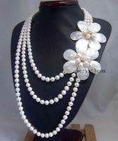 Натуральный белый жемчуг В виде ракушки цветочный лепесток цветка Многослойные Strand наборный Цепочки и ожерелья
