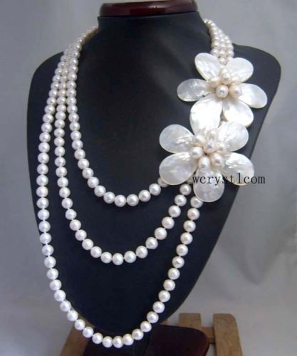 Natural White Pearl Shell Floral Flower Petal multilayer Strand Stacked NecklaceNatural White Pearl Shell Floral Flower Petal multilayer Strand Stacked Necklace