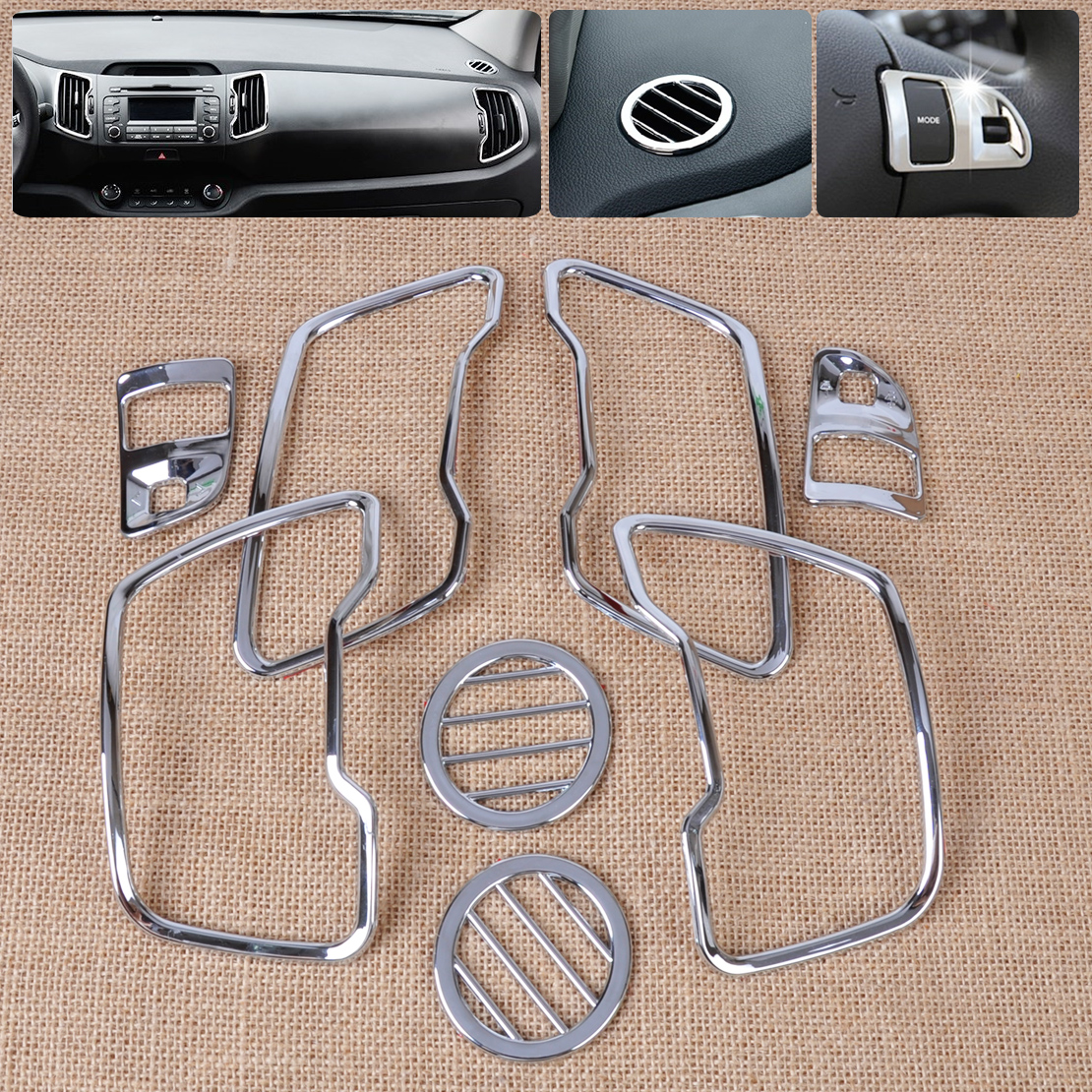 beler Silver 8pcs Chrome Steering Wheel + Air Vent Cover Trim Kit Car Accessories for Kia Sportage R 2011 2012 2013 2014 2015