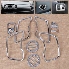 beler Silver 8pcs Chrome Steering Wheel + Air Vent Cover Trim Kit Car Accessories for Kia Sportage R 2011 2012 2013 2014 2015(China)