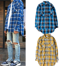 Scottish tartan Men shirts Justin Bieber Long sleeve fashion t-shirt curved Hem Irregular Length man blue yellow plaid shirts