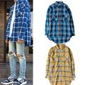 Scottish tartan camisas de Los Hombres de Justin Bieber moda de manga Larga camiseta curvo Dobladillo Irregular Longitud hombre camisas de tela escocesa azul amarilla