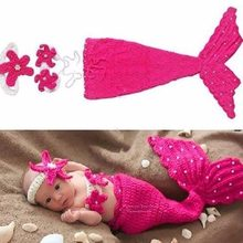 Puseky Baby Hat Mermaid Newborn Photography Props Girls Crochet Knitted Cap Hand-woven Photo Costume Props Hats 0-6M(China)