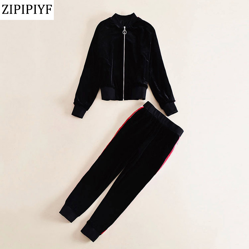 ZIPIPIYF Designer Runway 2 Piece Set 2018 spring Fashion Women Full Sleeve Floral Embroidery Tops + Casual Knit Suits
