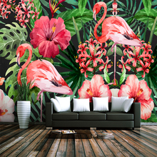 Custom 3d wallpaper Nordic style natural flamingo plant TV background wall - Healthy silk waterproof material