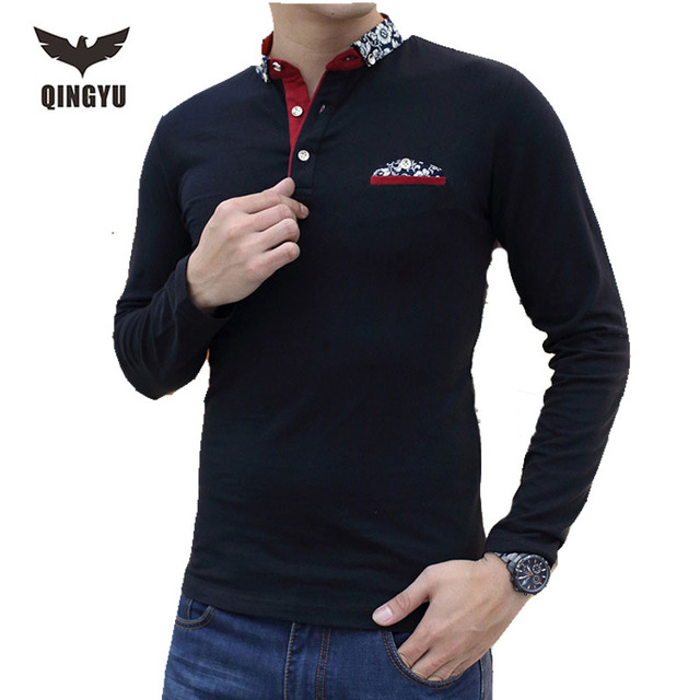 Big Yards Long Sleeve Polo Shirts Men'S 2016 New Men'S Cultivate One'S Morality V-Neck Pure Color  Fashion Mens Polo Shirt 3XL
