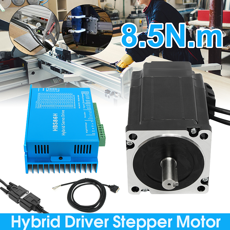 цена на 1 Set Nema34 Closed Loop 8.5N.m Servo motor Stepper Motor 6A HSS86 Hybrid Step-servo Driver CNC Controller Kit