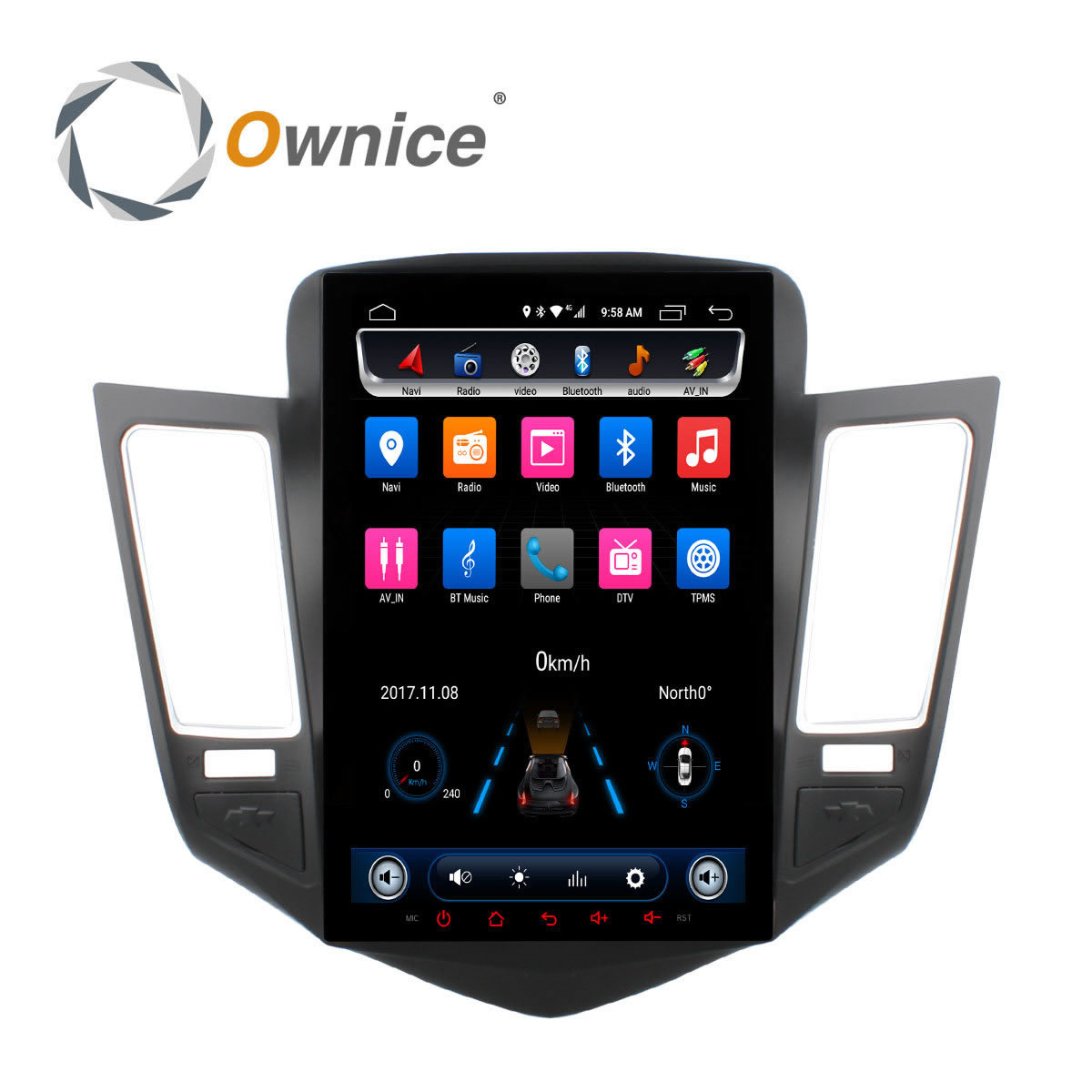 Ownice 10.4 Android Car Stereo DVD Player GPS Navi for Chevrolet Cruze 2009 2014 Auto Headunit Radio Stereo Car Play 2.5d