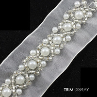 Beaded Rhinestones Pearls Fabric Applique Ribbon Embroidered Venise Lace Trim Embellishment Sewing Supplies for Craft 9yard/T841
