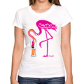 2016 Hot Sales summer fashion Flamingo-ing-going-gone! design women t-shirt Flamingo Drinking printed lady tops novelty slim Tee