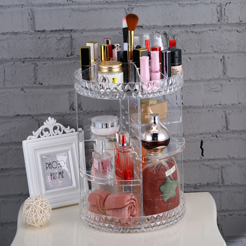 Rotating Cosmetic Storage Box Round Transparent Shelf Polish Jewelry Pen Brushes Box Container Manicure Nail Desktop Tool