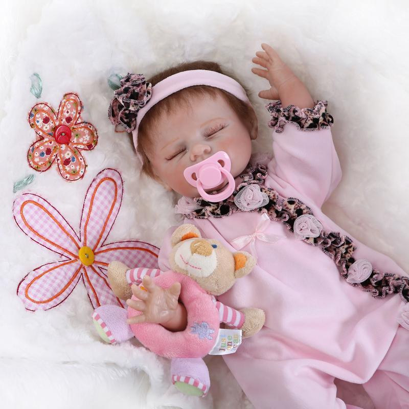 """52cm Silicone Vinyl Reborn Baby Doll Toys Lifelike Soft Cloth 22"""" Newborn babies Doll Reborn Birthday Gift"""