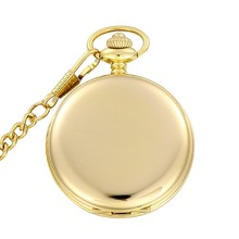 Fashion Silver/Bronze/black/Gold Polish Smooth Quartz Pocket Watch Jewelry Alloy Chain Pendant Necklace Man Women's Gift