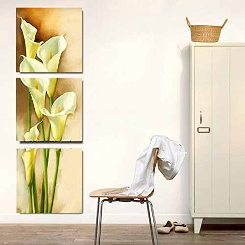 3 Piece Yellow Calla Lily Flowers Modern Painting Prints on Canvas Wall Art Vertical Stretched and Framed Pictures Artwork Gift