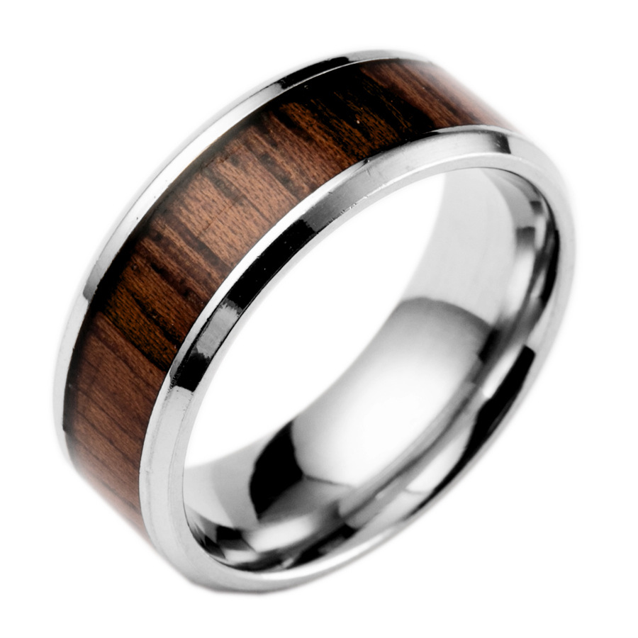 AOMU 1PC New Arrival Stainless Steel Ring Red Wood Grain Ring Mens
