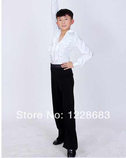 Arrival Diamond Rhinestone Ruffly Blue White Black Ballroom Dance Boy
