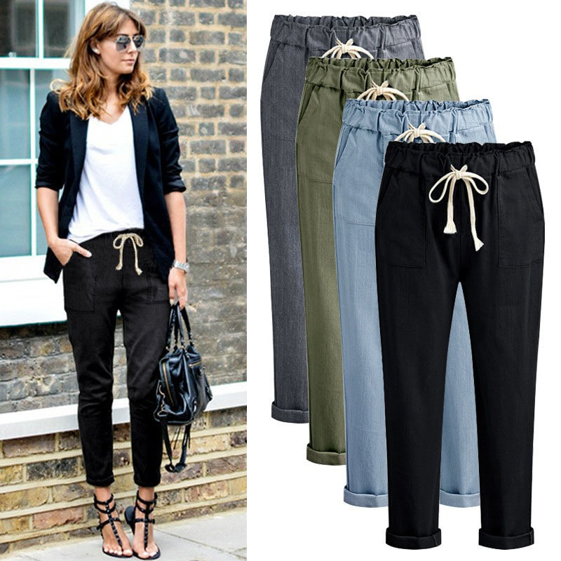 Casual Harem Pants Summer New Fitness Long Pants Female Leisure Soft Trousers For Women Drawstring Solid Color Woman