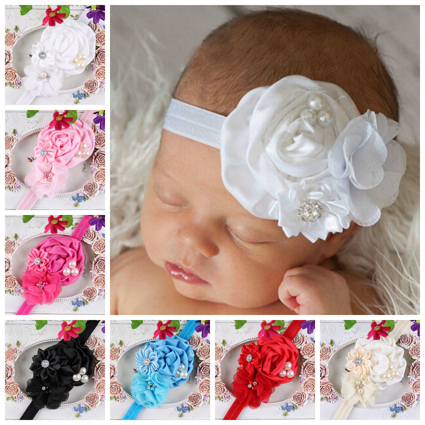 Newborn Bebe Headband  Ruffle Flower Crystals Elastic Headband Kids Hairband Photograph Props Girls Headwear 8 Colors free shipping 2 colors newborn kid girl elastic flower headband hairband hair accessories