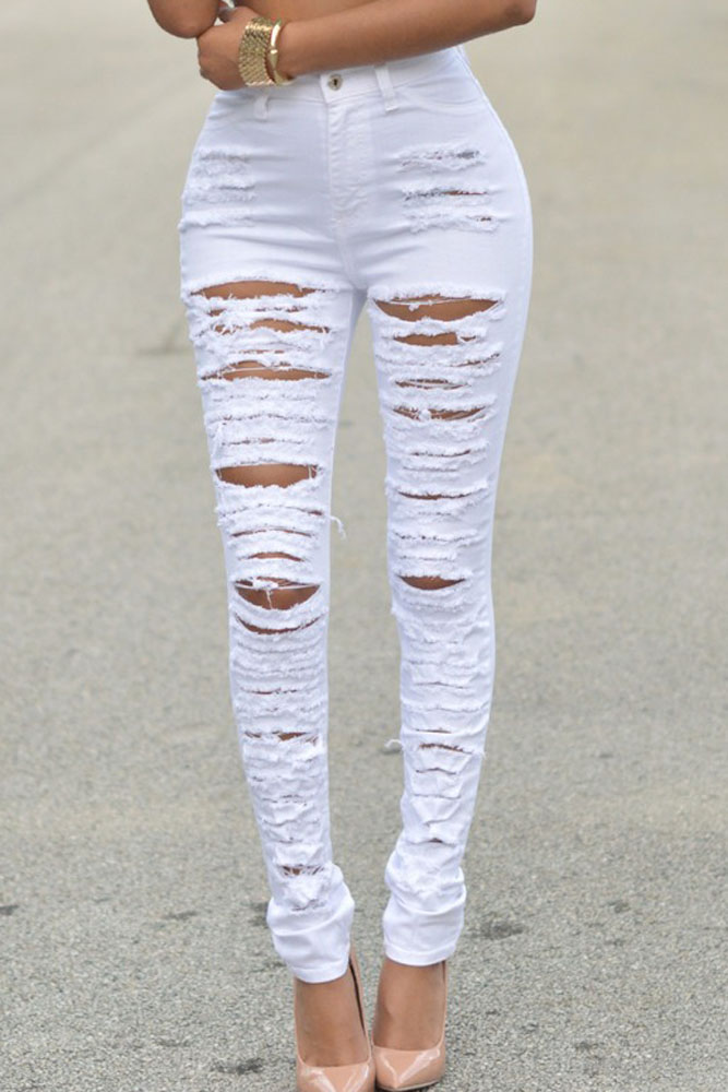 Aliexpress.com : Buy Women Green Pencil Skinny Jeans Ripped Butt ...