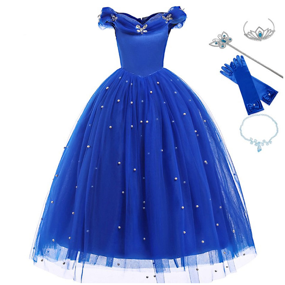 Girls Cinderella <font><b>Princess</b></font> <font><b>Dress</b></font> Elegant Blue Frocks For Summer Evening Prom Kids <font><b>Dress</b></font> Up Formal <font><b>Party</b></font> Costumes For Baby Girl image