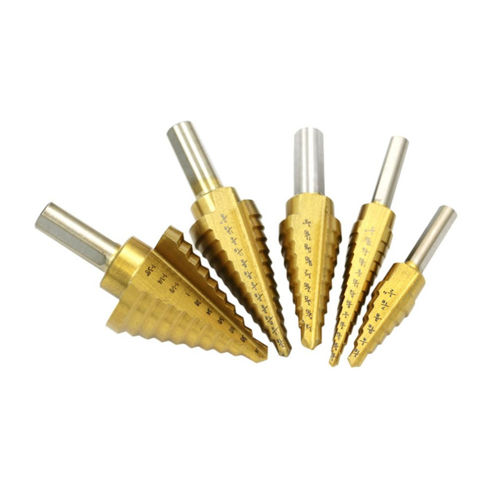 5pcs/set Pagoda Shape HSS Triangle Shank Pagoda Metal Steel Step Drill Bit Hole Cutter Drill Cone Drill Countersink Bit New