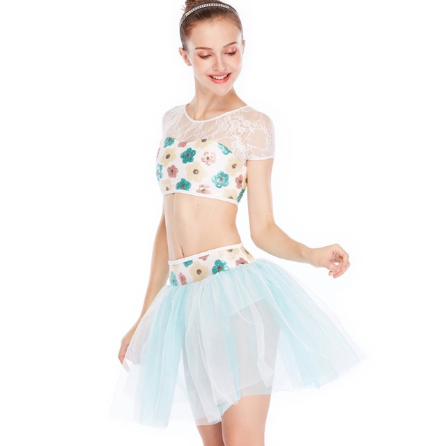 0f2659681 MiDee 2 Pieces Colorful Sequins Floral Crop Top Dance Costume ...