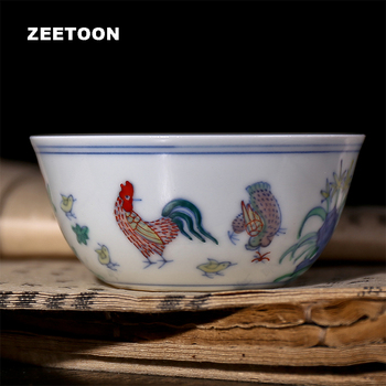 Kungfu Teaset Ceramic Teacup Imitation Boutique vintage Chicken Bucket Color Cylinder Cup Tea Bowl Porcelain Master Cup Gift Box