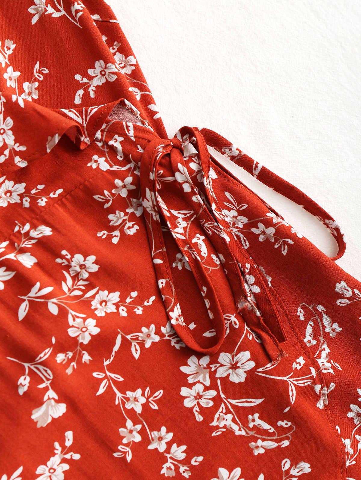 70603a31196a2 Wipalo Boho Summer Dress Tiny Floral Ruffle Wrap Mini Dress 2018 Women V  Neck Casual Short Sleeve Beach Dress Vestidos Robes