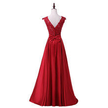 New arrival party evening dresses Long dress Vestido de Festa A-line appliques gown sexy V-opening sexy back