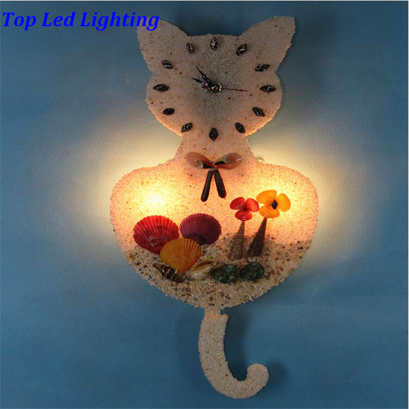 Creative Lovely Handmade Sands Shells Cat Led E14 Clock Wall Lamp for Children's Room Aisle Kid's Presents AC 80-265V 1236 1000g dynamic amazing diy educational toys plasticine indoor magic play do dry sands mars space sands color clay for kids