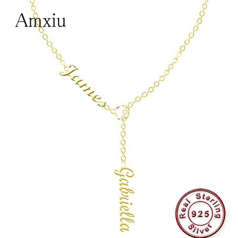 Amxiu Personalized Name Necklace Handmade 925 Silver Jewelry Engrave Two Names Pendant Necklace For Women Gift Custom Necklaces necklace