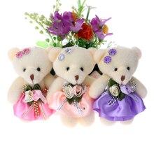 50pcs/lot Baby Girl Plush Toys Flower Bouquets Beaded Teddy Bear Mini Soft Design Wedding Home Decoration Bear Toys