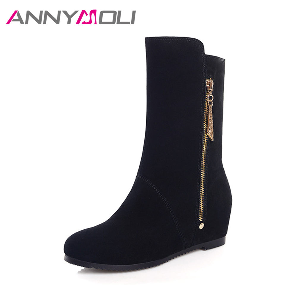 ANNYMOLI Genuine Leather Women Winter Boots Med Heels Increase Wedges Mid-Calf Boots Warm Plush Ladies Solid botines mujer 2017 genuine leather wedges sweet round toe pure color martins ladies boots chains mid calf gum rubber outsole insole increase