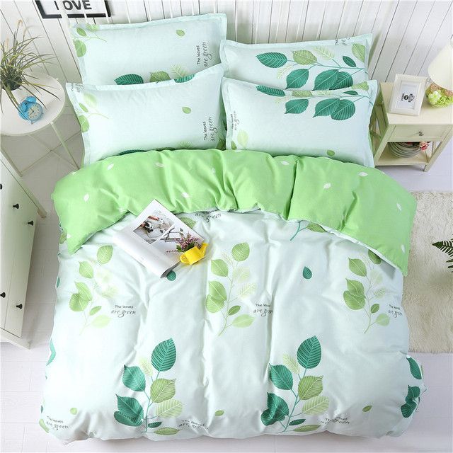 USA Europe Russian Bedding Sets Soft Duvet Cover Set Not Fade King Queen Size Bedding 2018 Spring Green Leaves Bedclothes