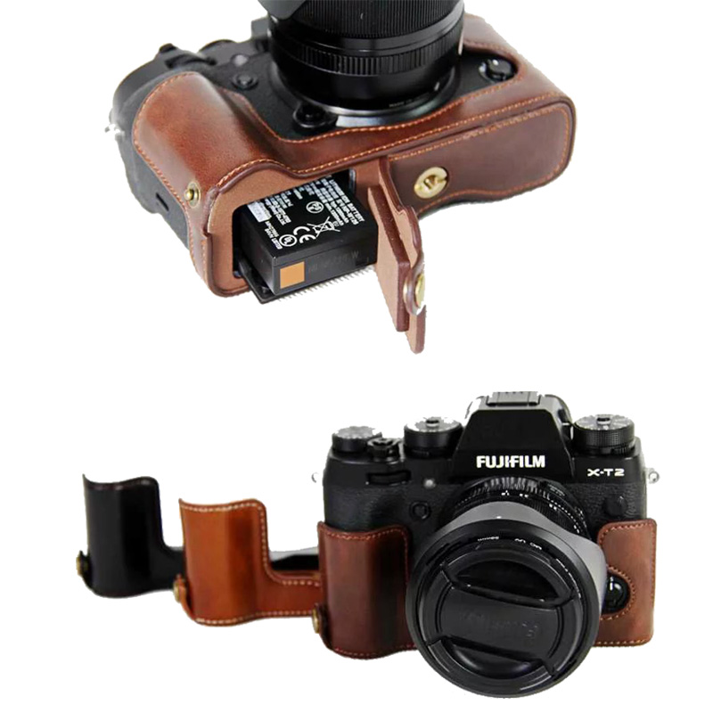 New Pu Leather Camera <font><b>Case</b></font> Half Bag For <font><b>FujiFilm</b></font> XT2 XT3 FUJI <font><b>X</b></font>-T2 <font><b>X</b></font>-<font><b>T3</b></font> Camera Video Half Bag Professional bottom cover image