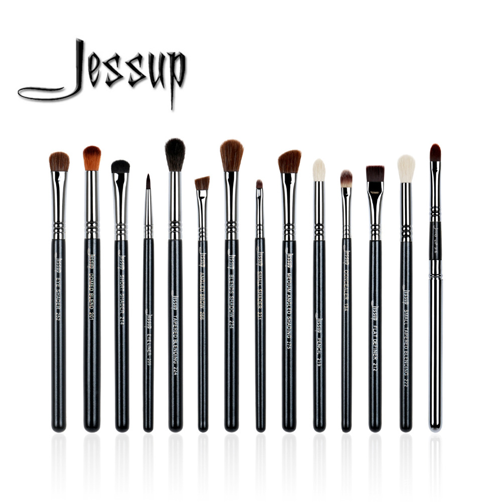 Jessup 14pcs Black/Silver High Quality Pro Makeup Brushes Set Beauty tools Make Up Brush Cosmetic kits T132 jessup 5pcs black gold makeup brushes sets high quality beauty kits kabuki foundation powder blush make up brush cosmetics tool