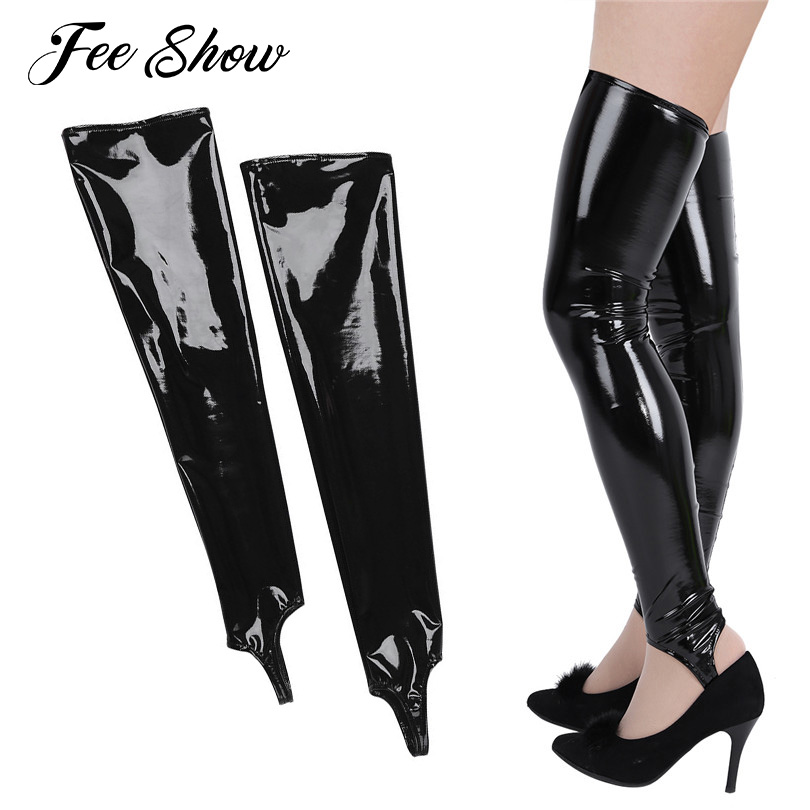 1 Pairs Black Women Shiny Patent Leather Thigh High Unique Stirrup toeless long Tights Stockings Soft and good elasticity