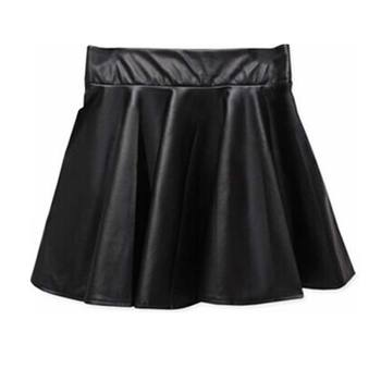 Women High Waist PU Leather Skater Mini Skirt Solid Color Sexy Short Pleated Skirts  XRQ88 7