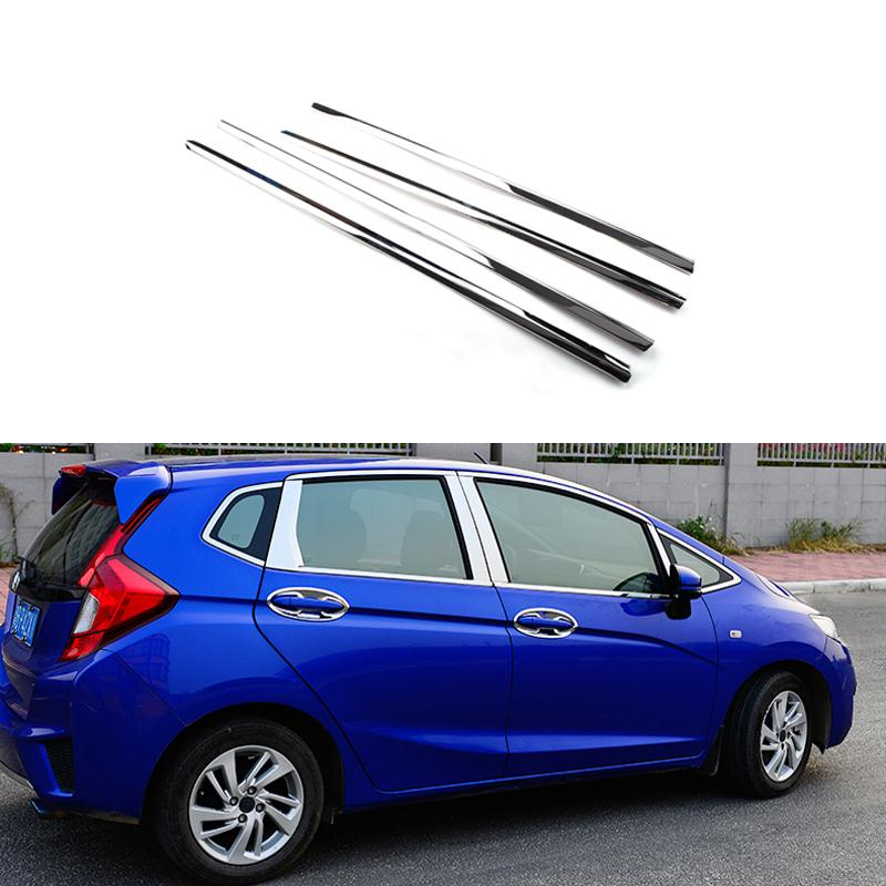 Full Window Trim Decoration Strips Stainless Steel Car Styling  Accessories For Honda Fit Jazz 2013 2014 2015 OEM-14-20 high quality stainless steel strips car window trim decoration accessories car styling 16pcs for 2013 2015 kia carens