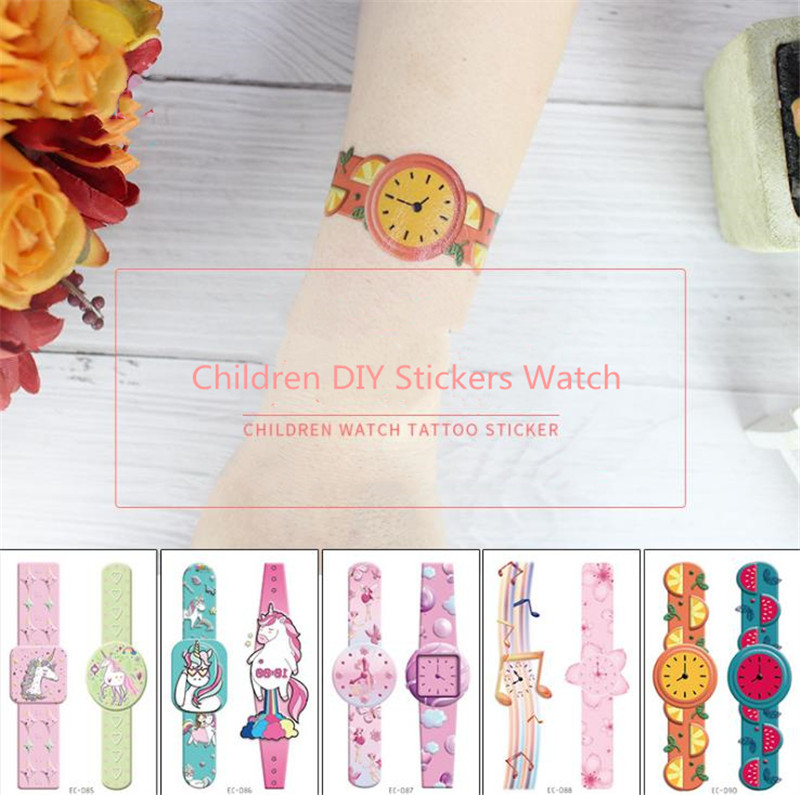 Hat  4pcs/set Waterproof Temporary Tattoos  Children Kids DIY Stickers Watch Carto0nTattoo Sticker Cartoon Hat