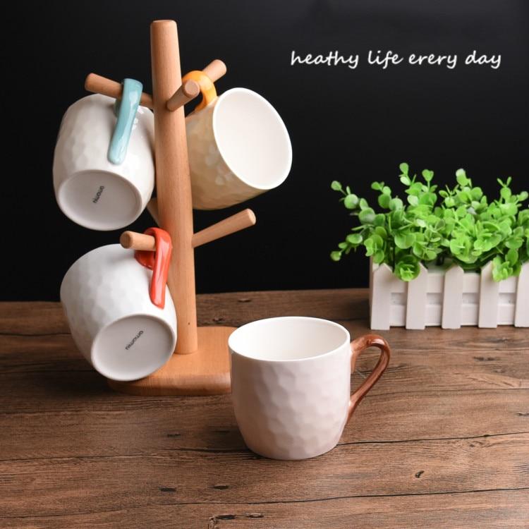 4 шт. кружка костюм новый свежий искусство и творческие керамика для внутреннего деревянная рамка прекрасная пара стакана воды кофейная кру... - 3