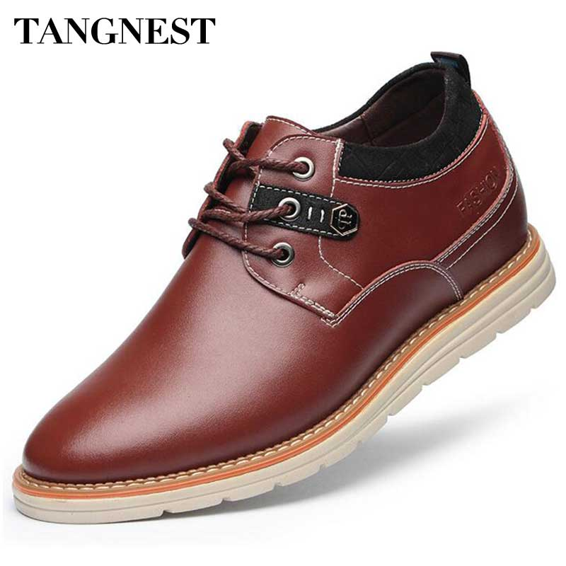 Tangnest Men Elevator Shoes 2018 New 6 CM Height Increasing Shoes Male Casual Dress Flats Man PU Leather Shoe Size 37~43 XMR2425 new arrival 2015 casual men calf leather shoes handmade high top leather elevator shoes internal height increase shoe 6 5cm